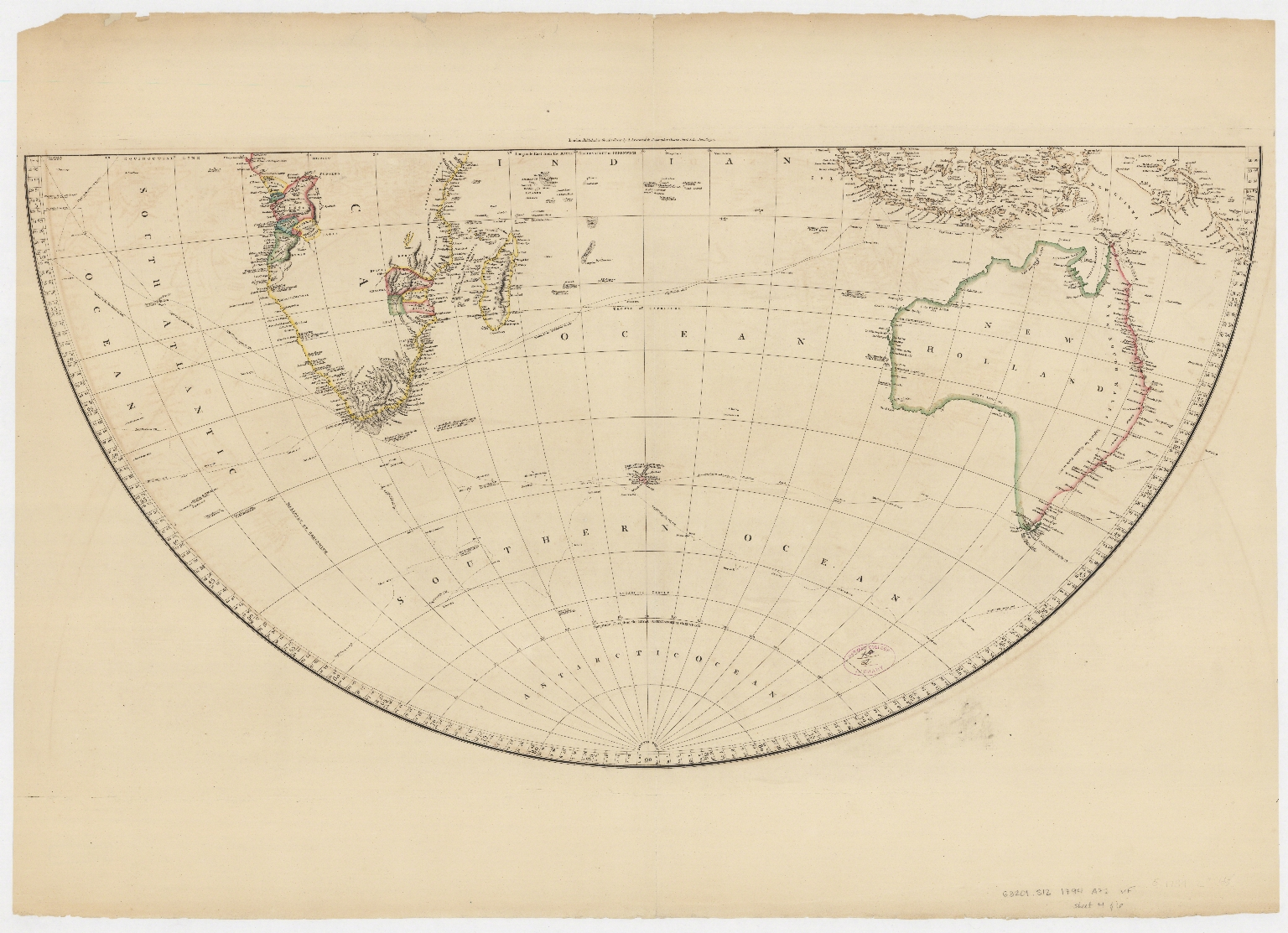 Map of the world on a globular projection : exhibiting particularly the nautical researches of Capn. James Cook, F.R.S. with all the recent discoveries to the present time.Part 2