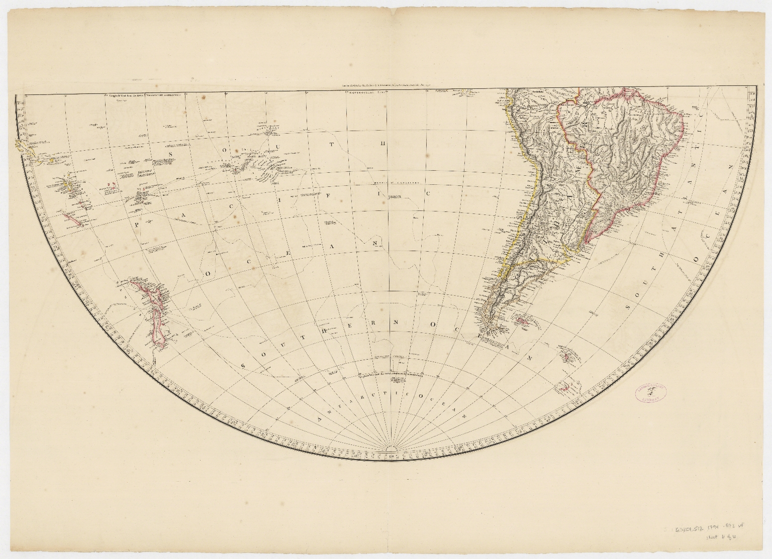 Map of the world on a globular projection : exhibiting particularly the nautical researches of Capn. James Cook, F.R.S. with all the recent discoveries to the present time.Part 4