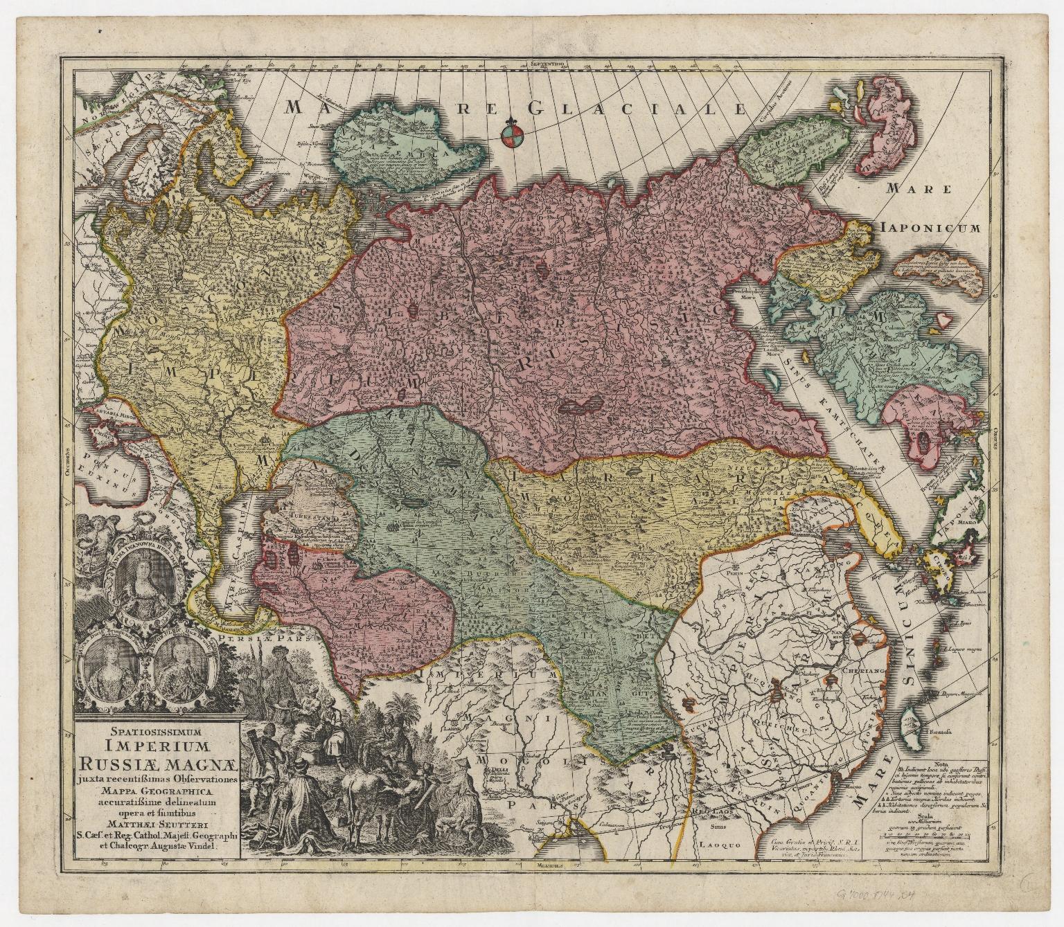 Spatiosissimum imperium Russiæ Magnæ, iuxta recentissimas observationes, mappa geographica accuratissime delineatum