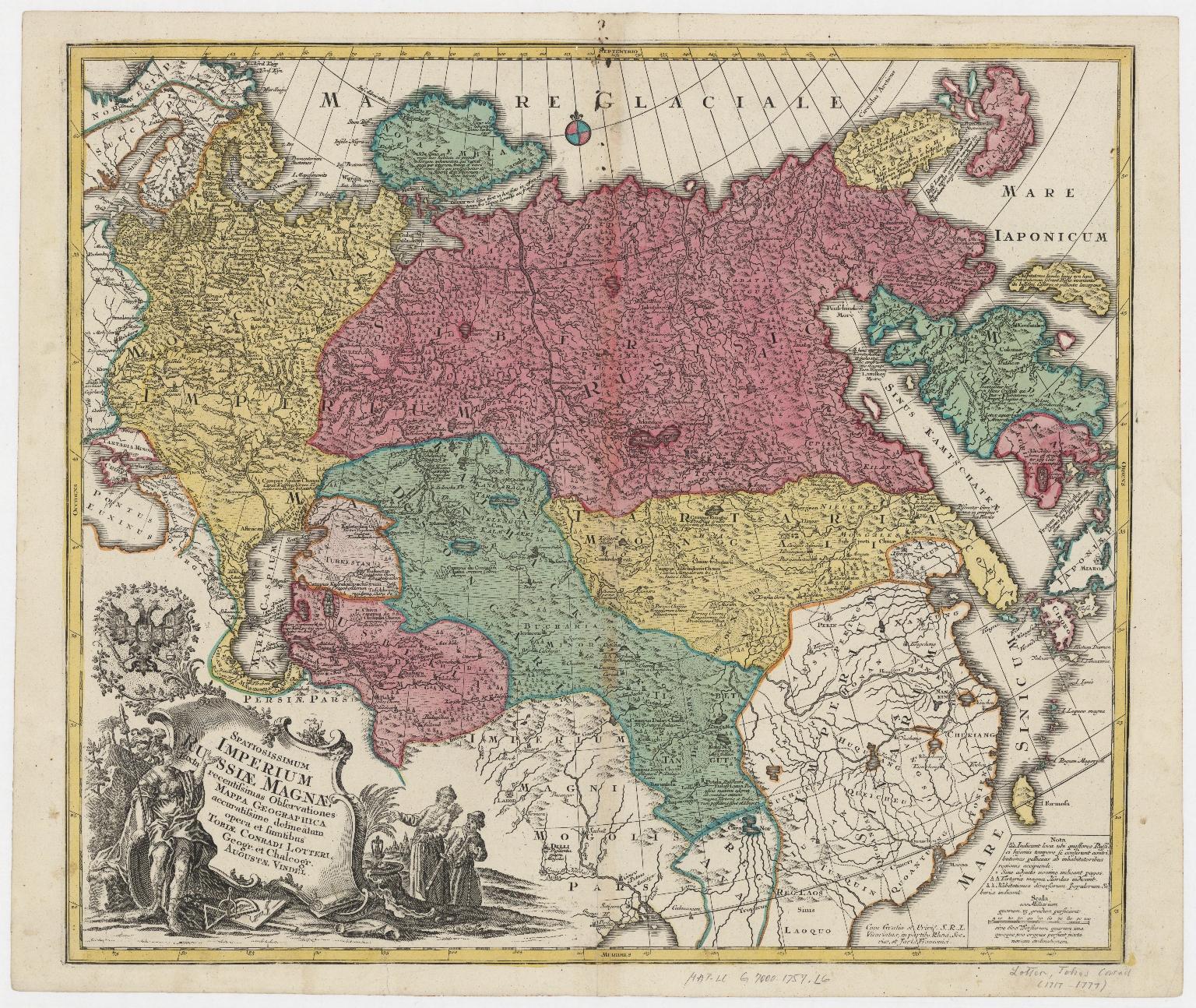 Spatiosissimum Imperium Russiae magnae iuxta recentissimas observationes mappa geographica
