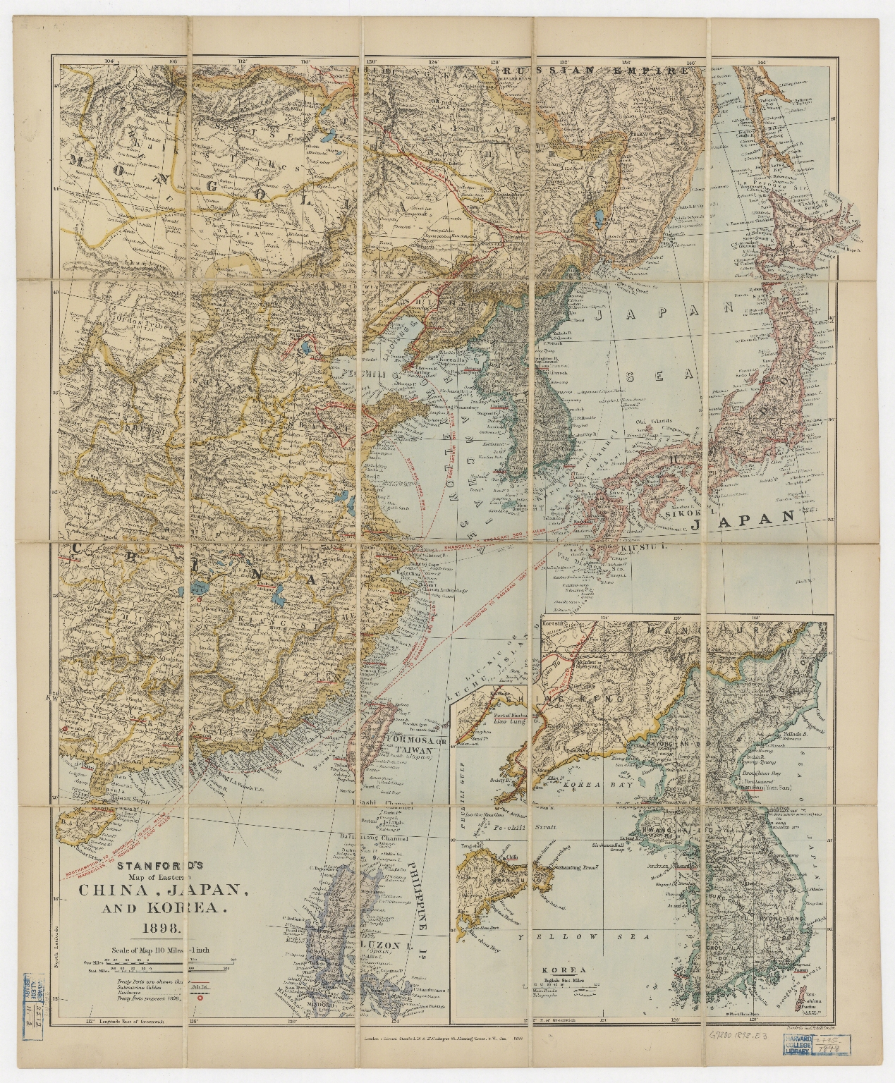 Stanford's map of Eastern China, Japan and Korea, 1898