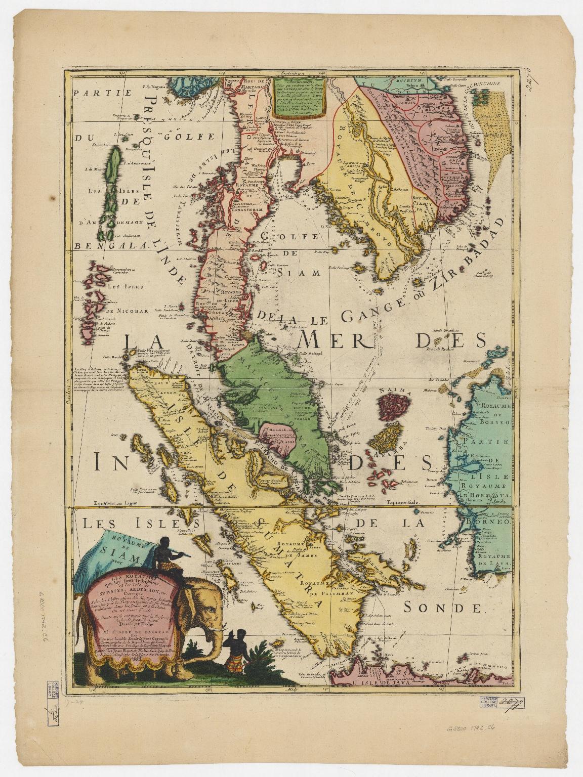 Royaume de Siam, avec les royaumes qui luy sont tributaires, et les isles de Sumatra, Andemaon, etc.