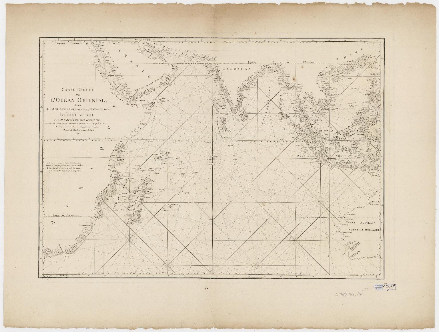 Carte réduite de l'ocean oriental depuis le Cap de Bonne Espérance jusqu'à l'isle Formose