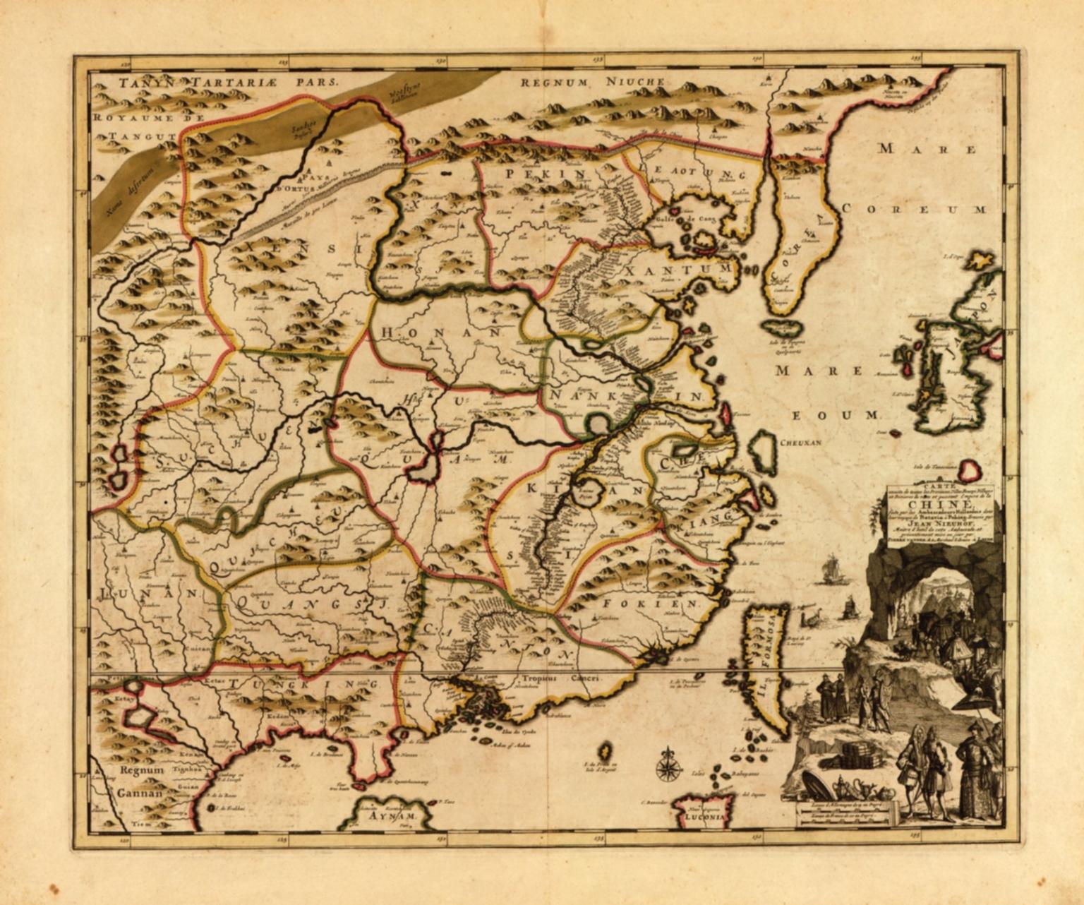 Carte exacte de toutes les provinces, villes, bourgs, villages et rivières du vaste et puissant empire de la Chine : faite par les ambassadeurs hollandois dans leur voyage de Batavia à Peking