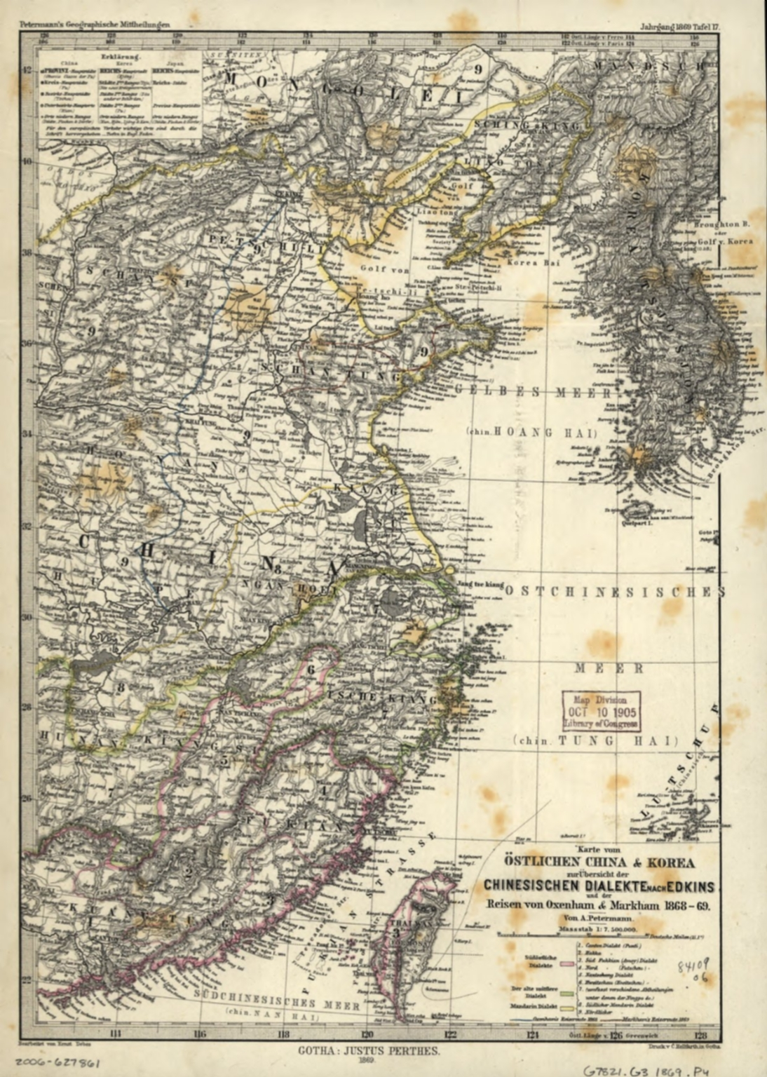 Karte vom östlichen China & Korea zur Übersicht der chinesischen Dialekte nach Edkins und der Reisen von Oxenham & Markham 1868-69