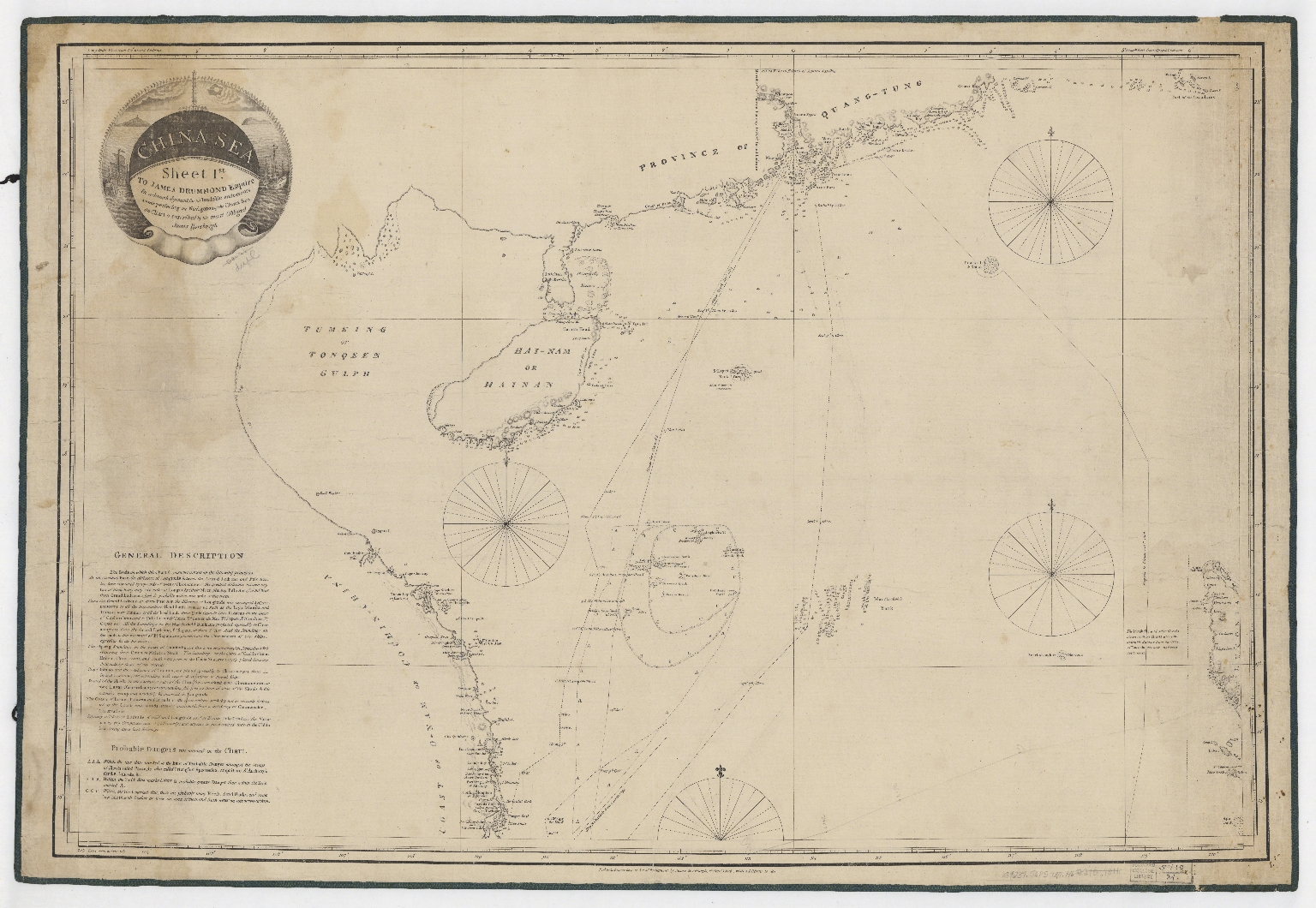 China Sea. Sheet 1.st to James Drummond Esquire in acknowledgement for his laudable endeavours towards perfecting the navigation of the China Sea