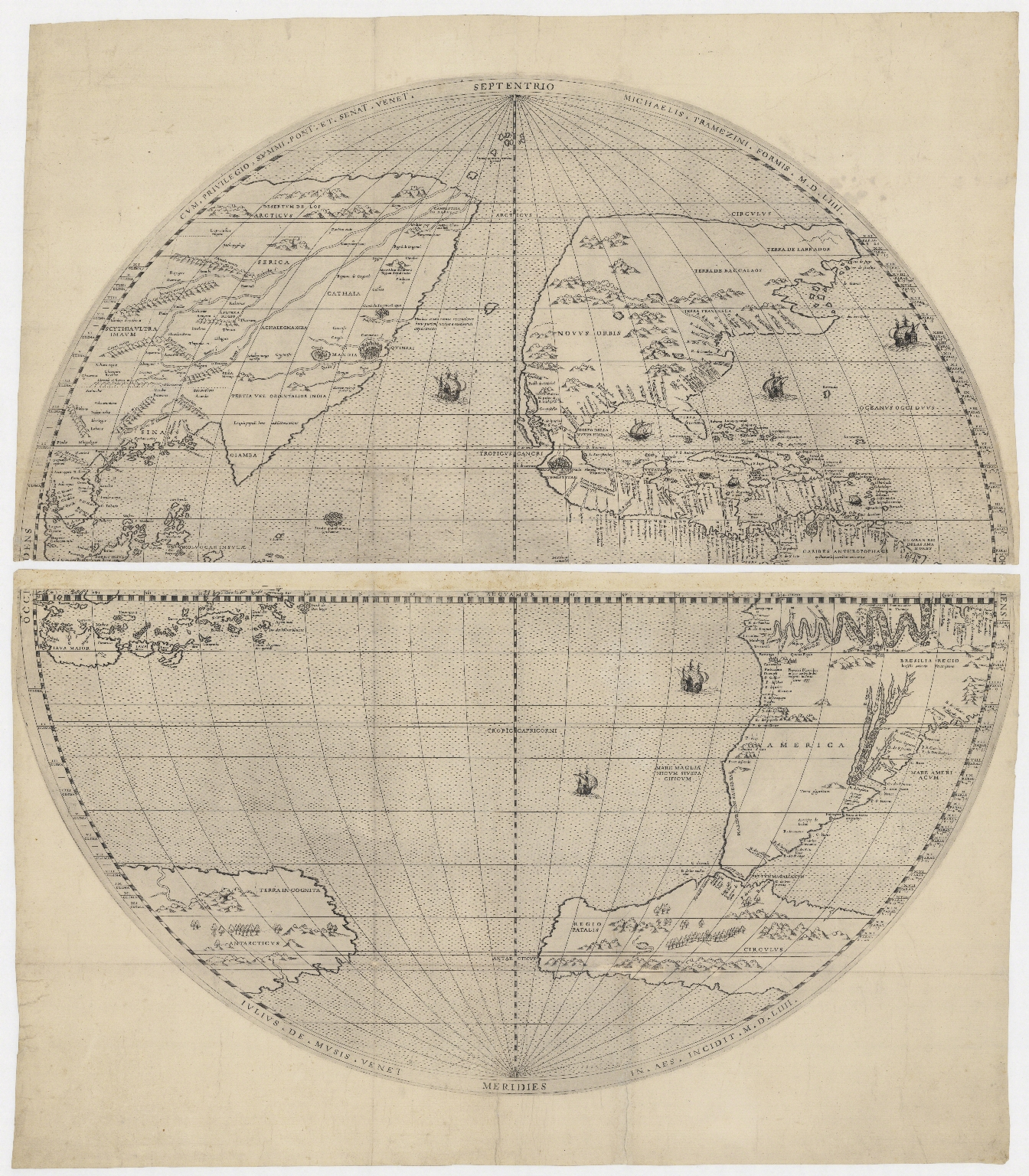[Map of the world in two hemispheres]. Part 2