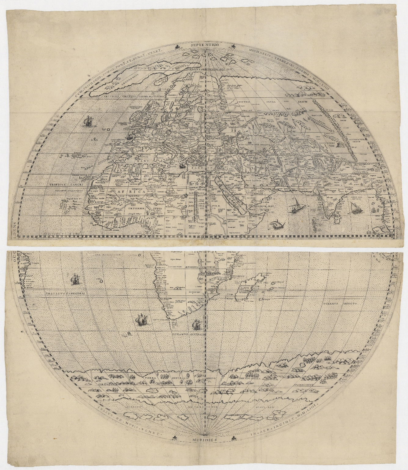[Map of the world in two hemispheres]. Part 1