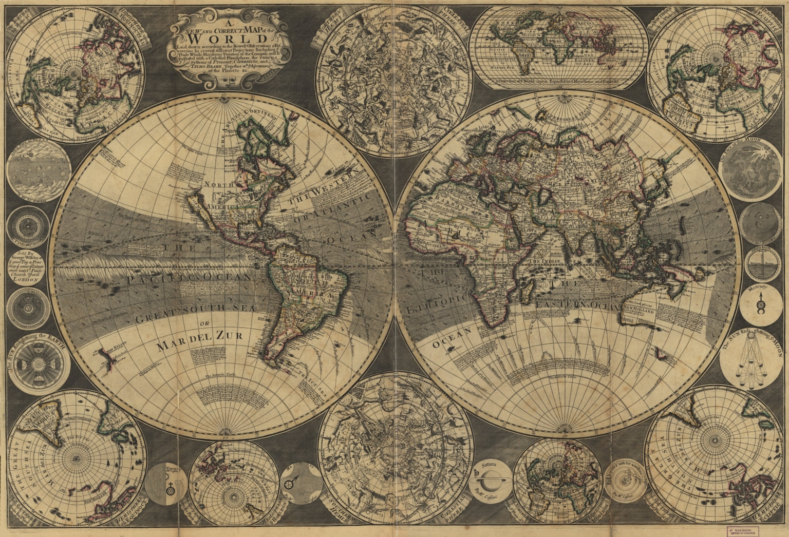 A new and correct map of the world : laid down according to the newest observations & discoveries in several different projections including the trade winds, monsoons, variation of the compass, and illustrated with a coelestial planisphere, the various systems of Ptolomy, Copernicus, and Tycho Brahe together with ye apearances of the planets &c.