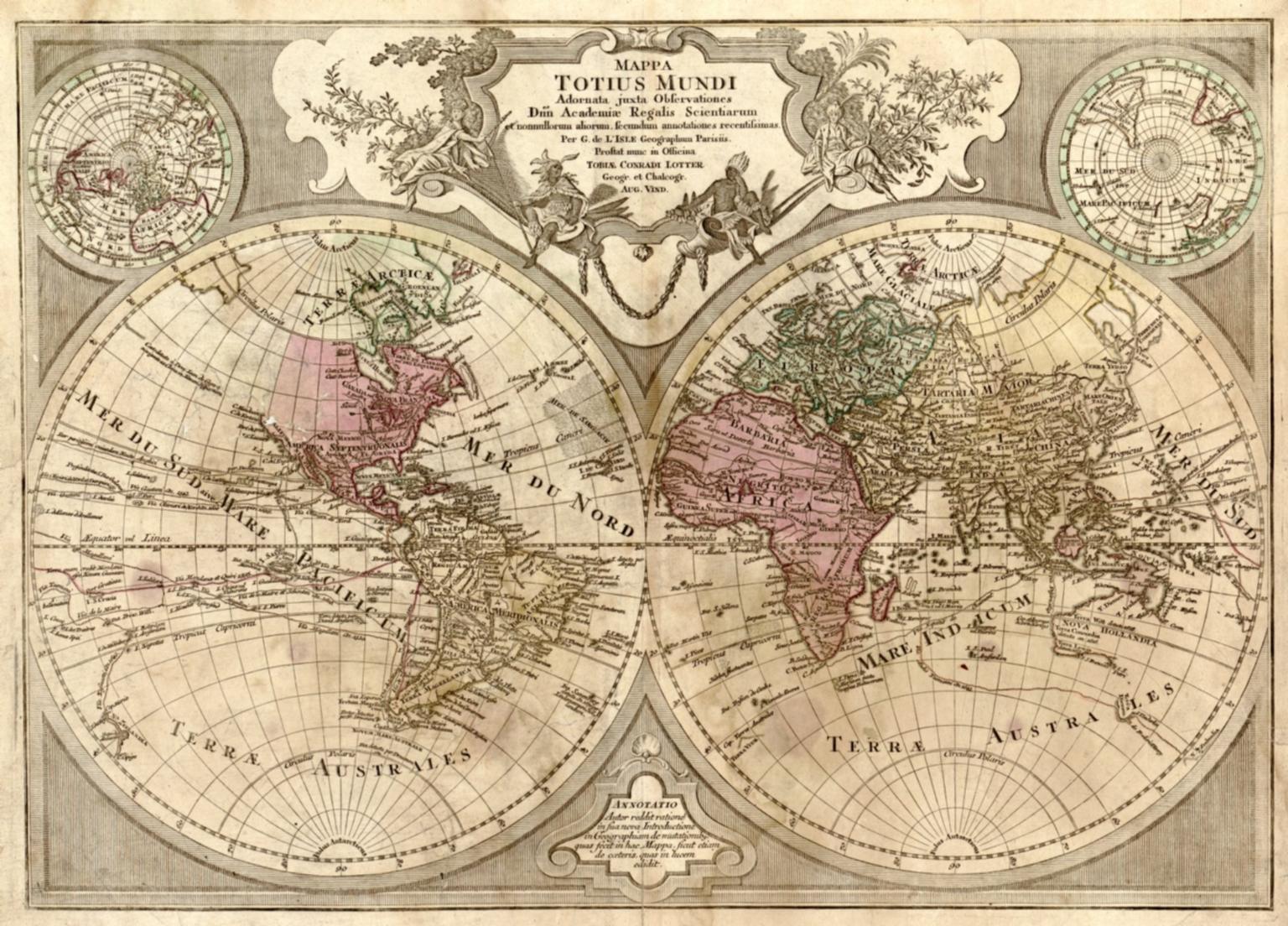 Mappa totius mundi : adornata juxta observationes dnn. academiae regalis scientiarum et nonnullorum aliorum secundum annotationes recentissimas