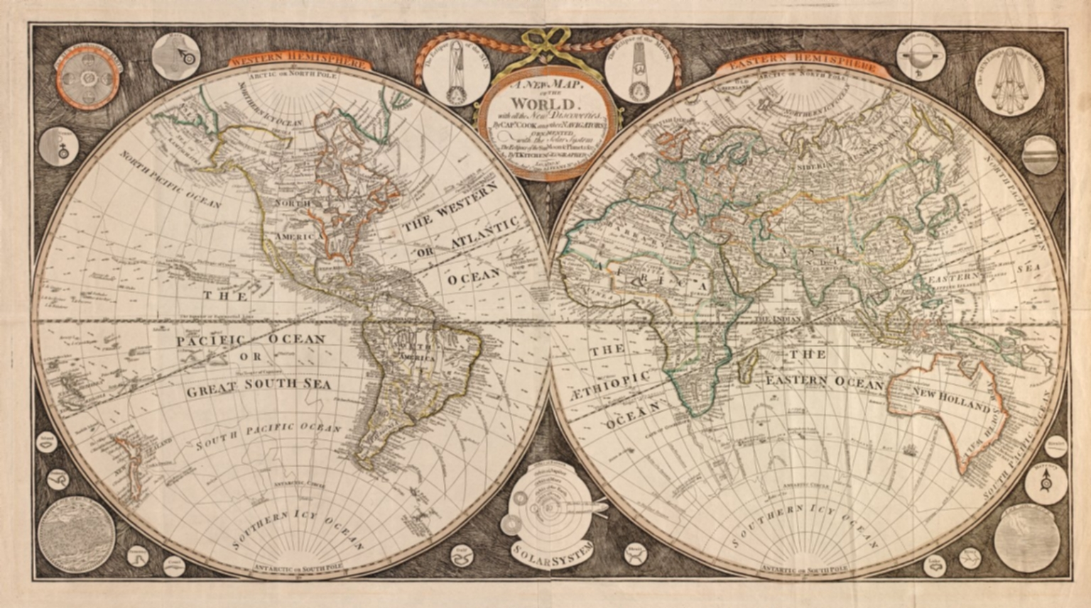 A new map of the world : with all the new discoveries by Capt. Cook and other navigators : ornamented with the Solar System, the eclipses of the sun, moon & planets &c.