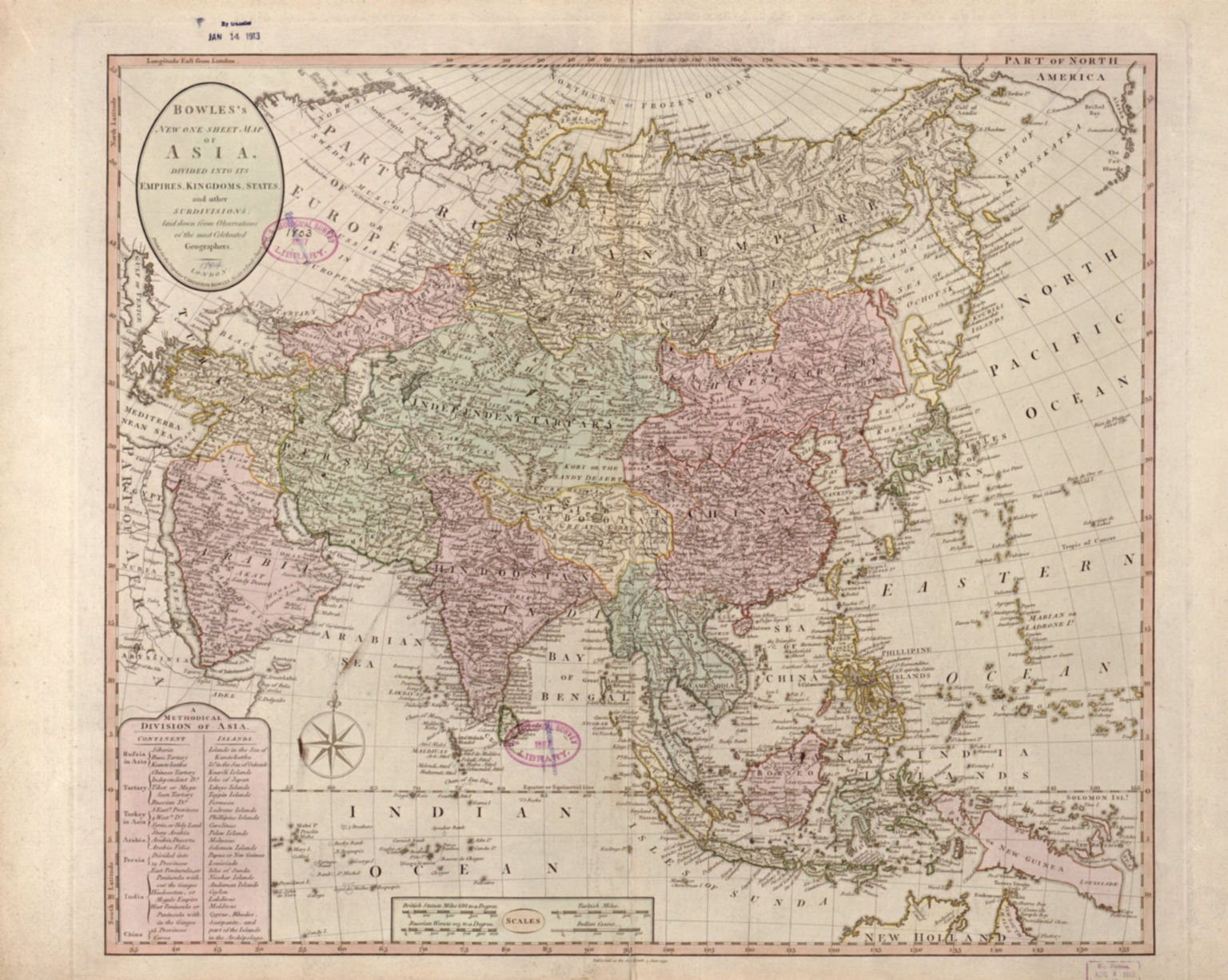 Bowles's new one-sheet map of Asia, divided into its empires, kingdoms, states, and other subdivisions : laid down from observations of the most celebrated geographers