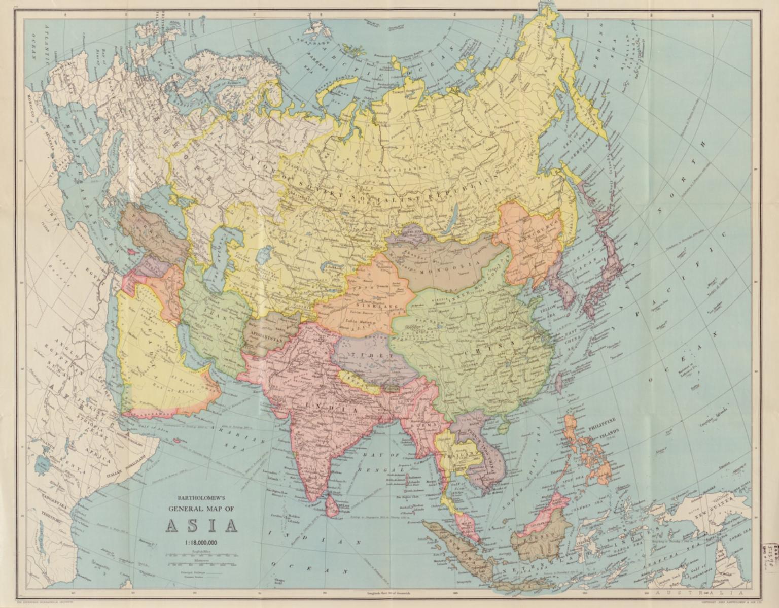 Bartholomew's general map of Asia