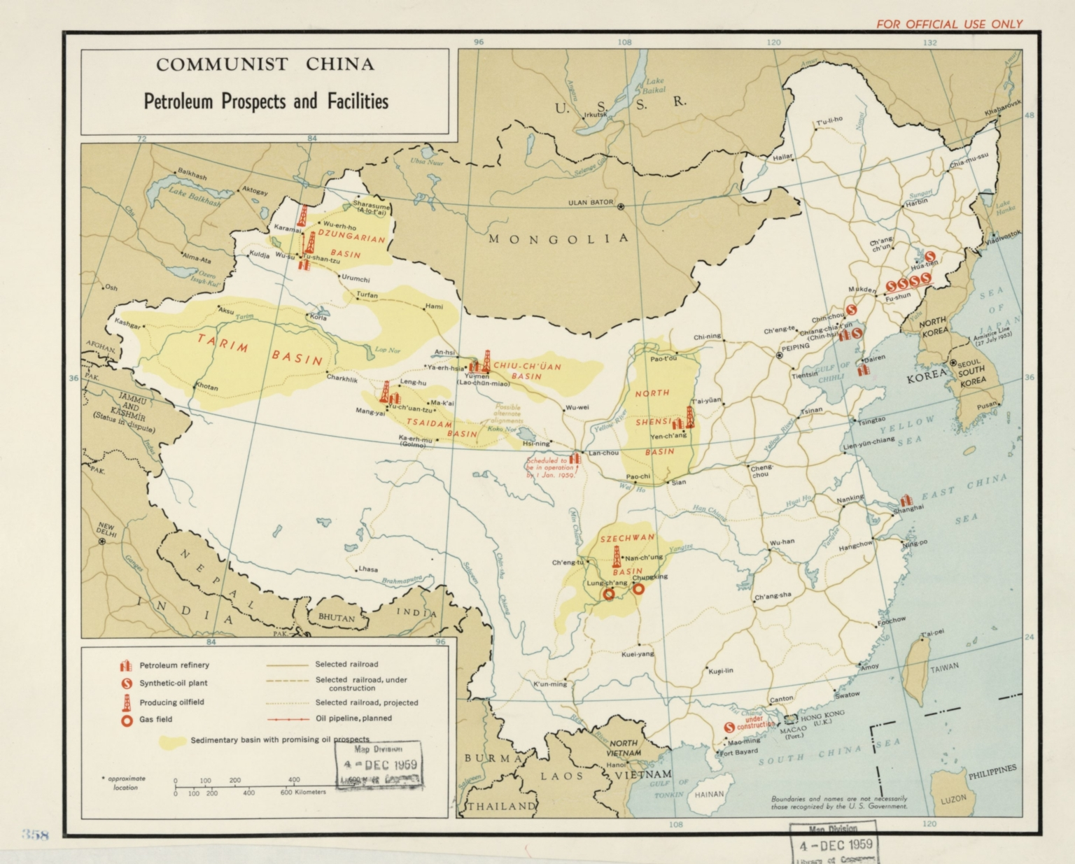 Communist China, petroleum prospects and facilities