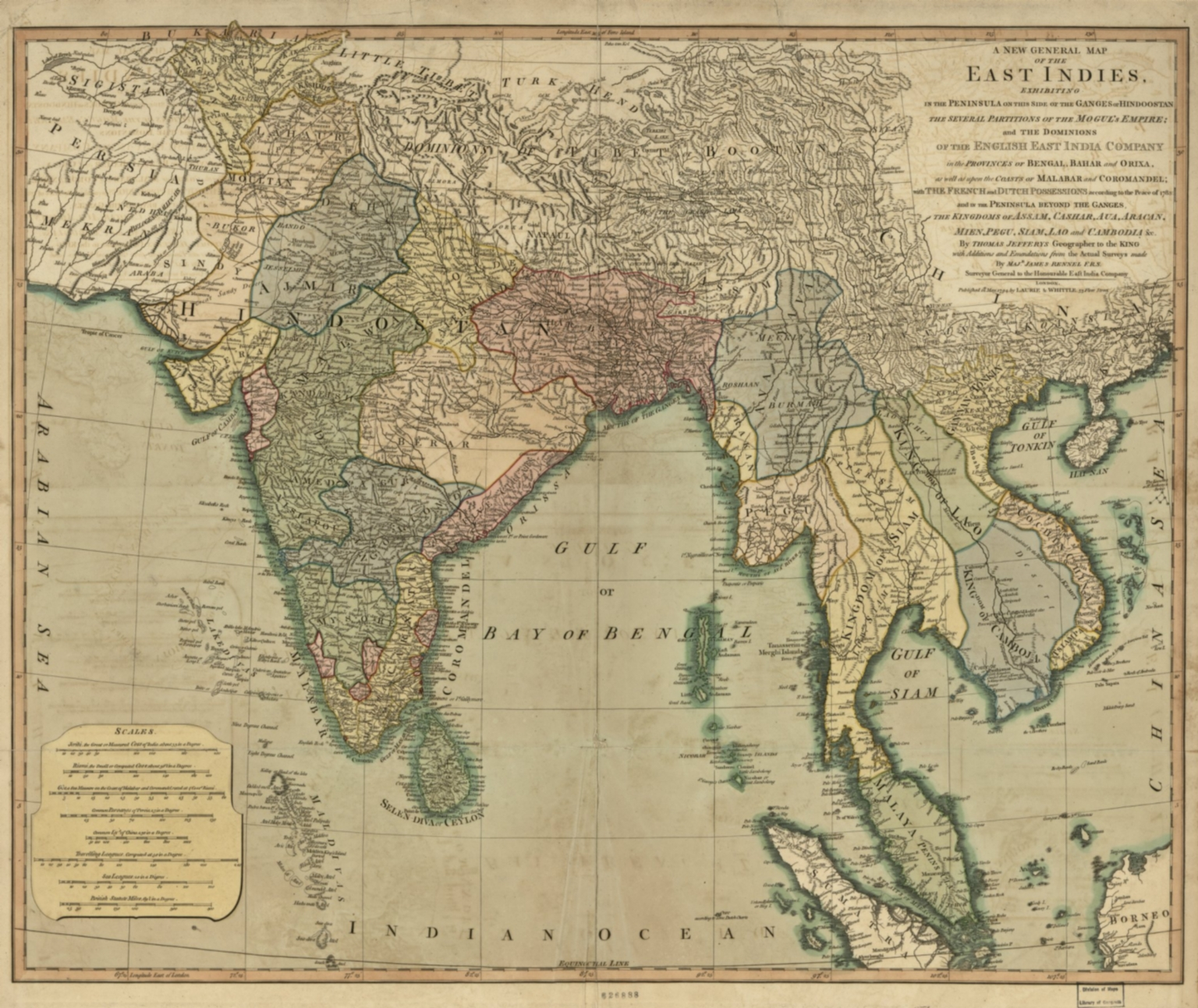 A new general map of the East Indies : exhibiting in the Peninsula on this side of the Ganges, or Hindoostan, the several partitions of the Mogul's Empire ; and the dominions of the English East India Company in the provinces of Bengal, Bahar, Orixa, as well as upon the coasts of Malabar and Coromandel ; with the French and Dutch possessions according to the peace of 1783 : and in the peninsula beyond the Ganges, the kingdoms of Assam, Cashar, Aua, Aracan, Mien, Pegu, Siam, Lao and Cambodia, &c.