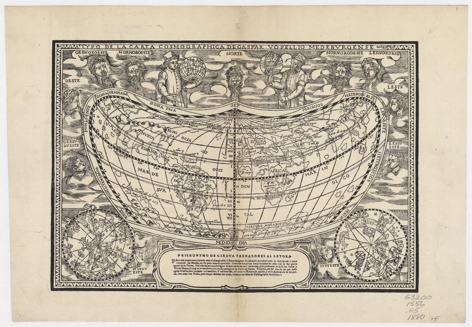 Typo de la carta cosmographica de Gaspar Vopellio medeburgense