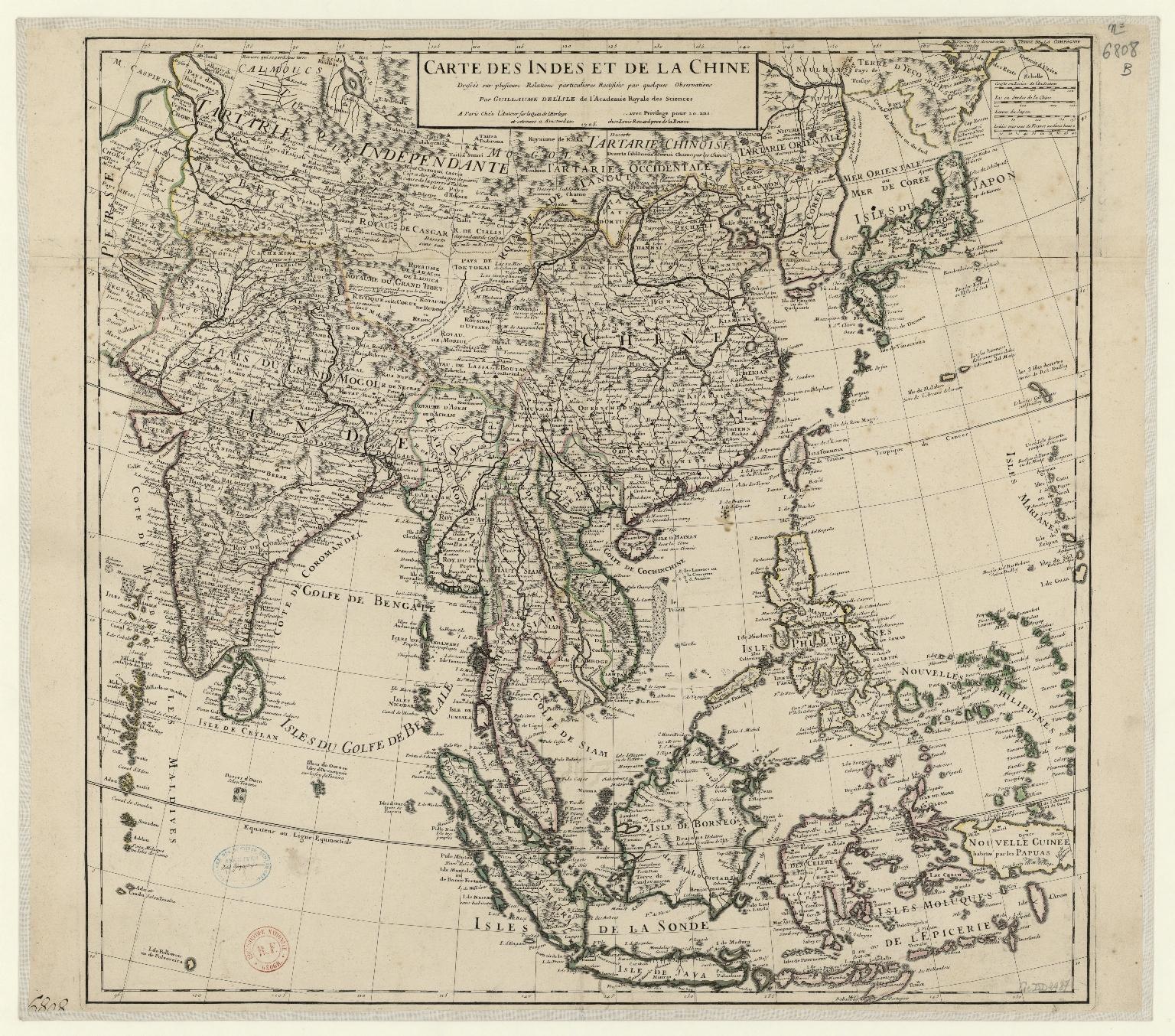 Carte des Indes et de la Chine : dressée sur plusieurs relations particulières rectifiées par quelques observations