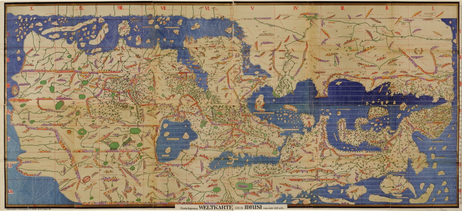 Weltkarte des Idrisi vom Jahr 1154 n. Ch., Charta Rogeriana = Explanations to the proof of the map of the world drawn by Idrisi in 1154 and restored by K. Miller in 1927