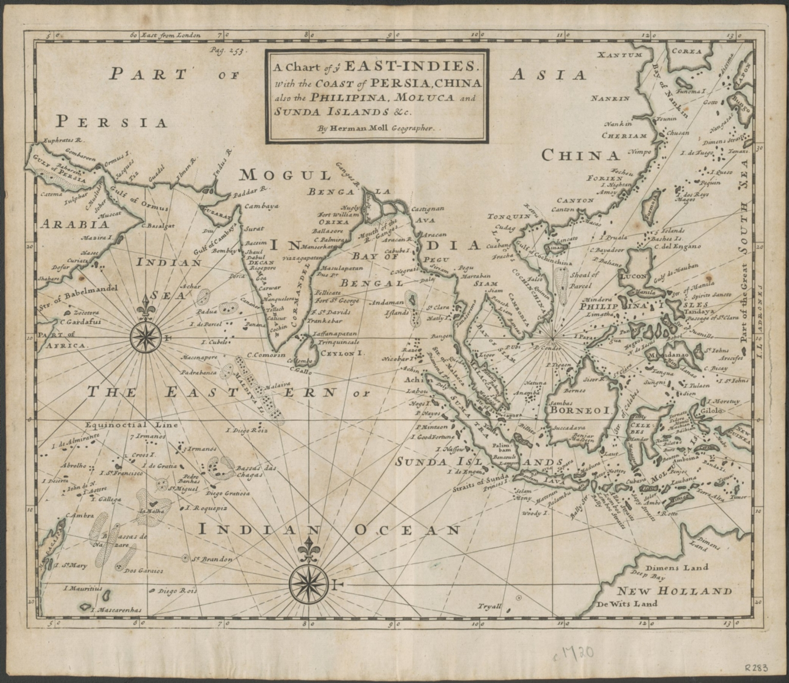 A chart of ye East-Indies with the coast of Persia, China also the Philipina, Moluca and Sunda Islands, &c.