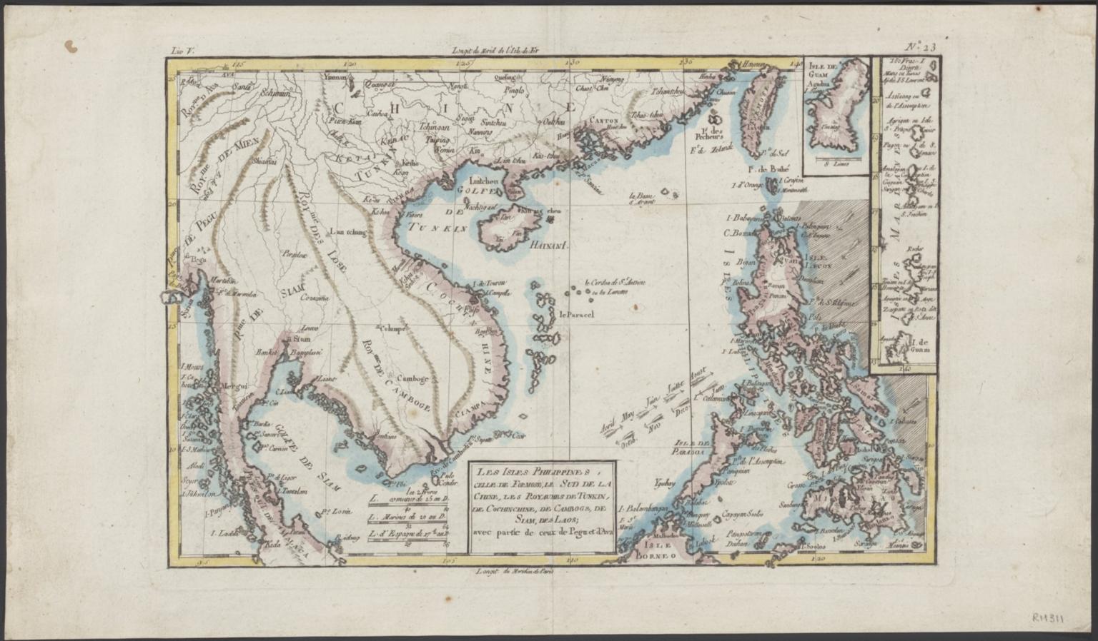 Les isles Philippines, celle de Formose, le sud de la Chine, les royaumes de Tunkin, de Cochinchine, de Camboge, de Siam, des Laos, avec partie de ceux de Pegu et d'Ava