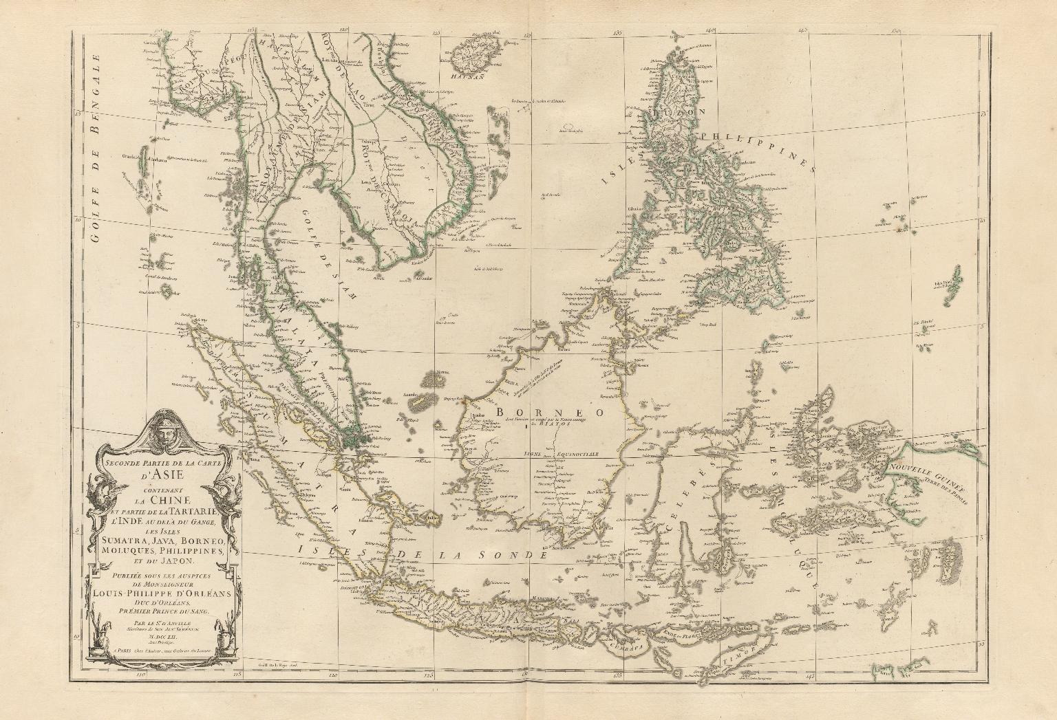 Seconde partie de la carte d'Asie, contenant la Chine et partie de la Tartarie, l'Inde au delà du Gange, les isles Sumatra, Java, Borneo, Moluques, Philippines et du Japon.Part 2
