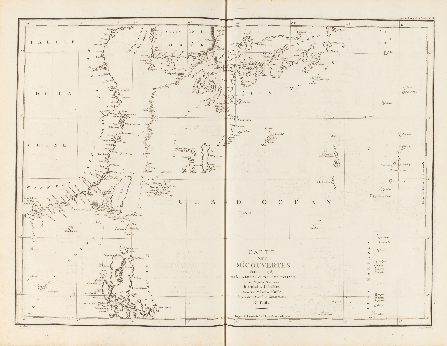Carte des découvertes faites en 1787 dans les mers de Chine et de Tartarie : par les frégates françaises la Boussole et l'Astrolabe, depuis leur départ de Manille jusqu'à leur arrivée au Kamtschatka