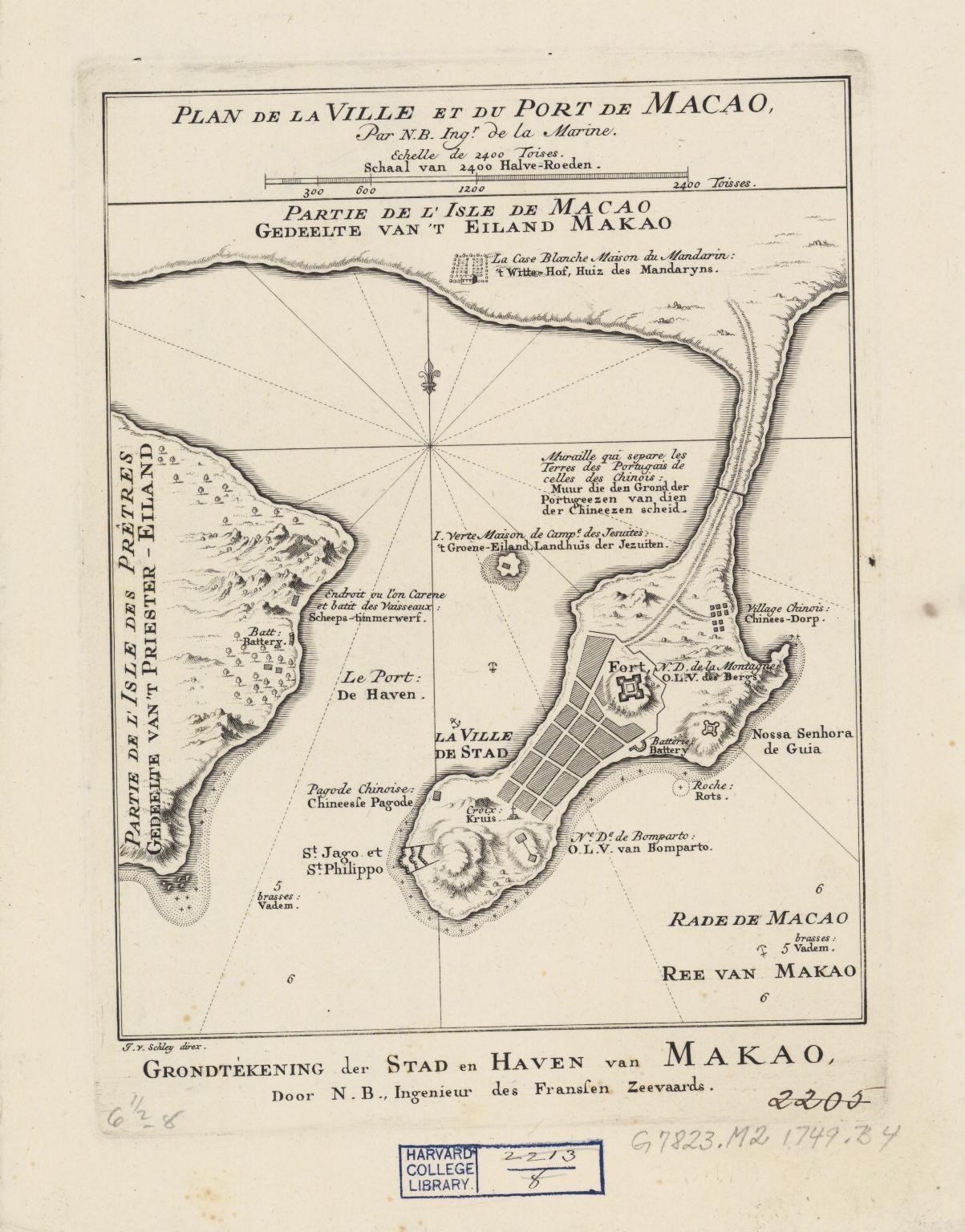 Plan de la ville et du port de Macao = Grondtékening der stad en haven van Makao