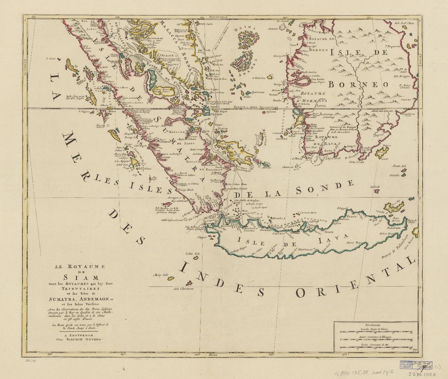 Le royaume de Siam, auec les royaumes qui luy sont tributaires, et les isles de Sumatra, Andemaon, etc., et les isles voisine : avec les observations des six Peres Jesuites envojez par le Roy en qualité de ses mathematiciens dans les Indes, et à la Chine ou est aussi tracée la route qu'ils ont tenüe par le Destroit de la Sonde jusqu'à Siam. Part 2