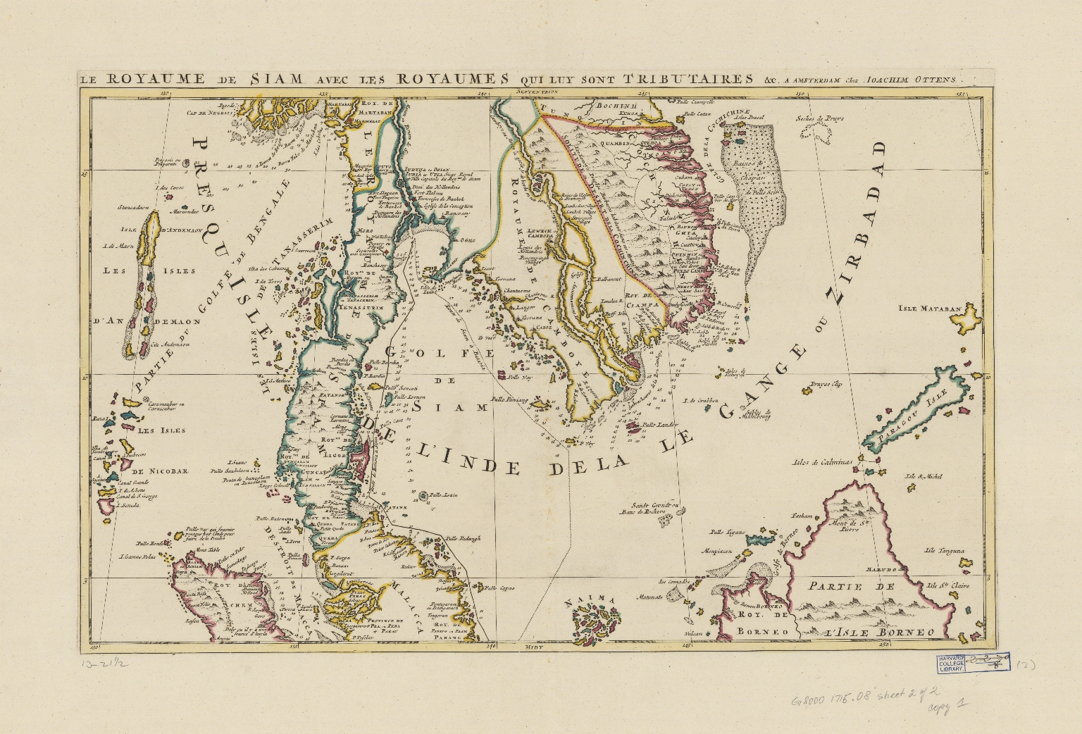 Le royaume de Siam, auec les royaumes qui luy sont tributaires, et les isles de Sumatra, Andemaon, etc., et les isles voisine : avec les observations des six Peres Jesuites envojez par le Roy en qualité de ses mathematiciens dans les Indes, et à la Chine ou est aussi tracée la route qu'ils ont tenüe par le Destroit de la Sonde jusqu'à Siam. Part 1
