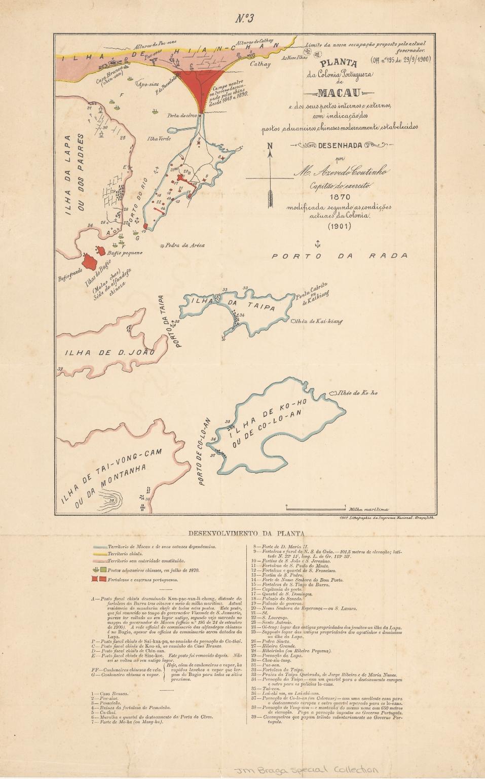 Planta da colonia portugueza de Macau e dos seus portos internos e externos, com indicação dos postos aduaneiros chineses modernamente estabelecidos
