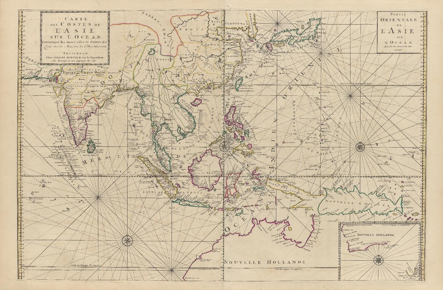 Carte des costes de l'Asie sur l'Ocean : contenant les bancs isles et costes & c, levee sur les memoires les plus nouveau
