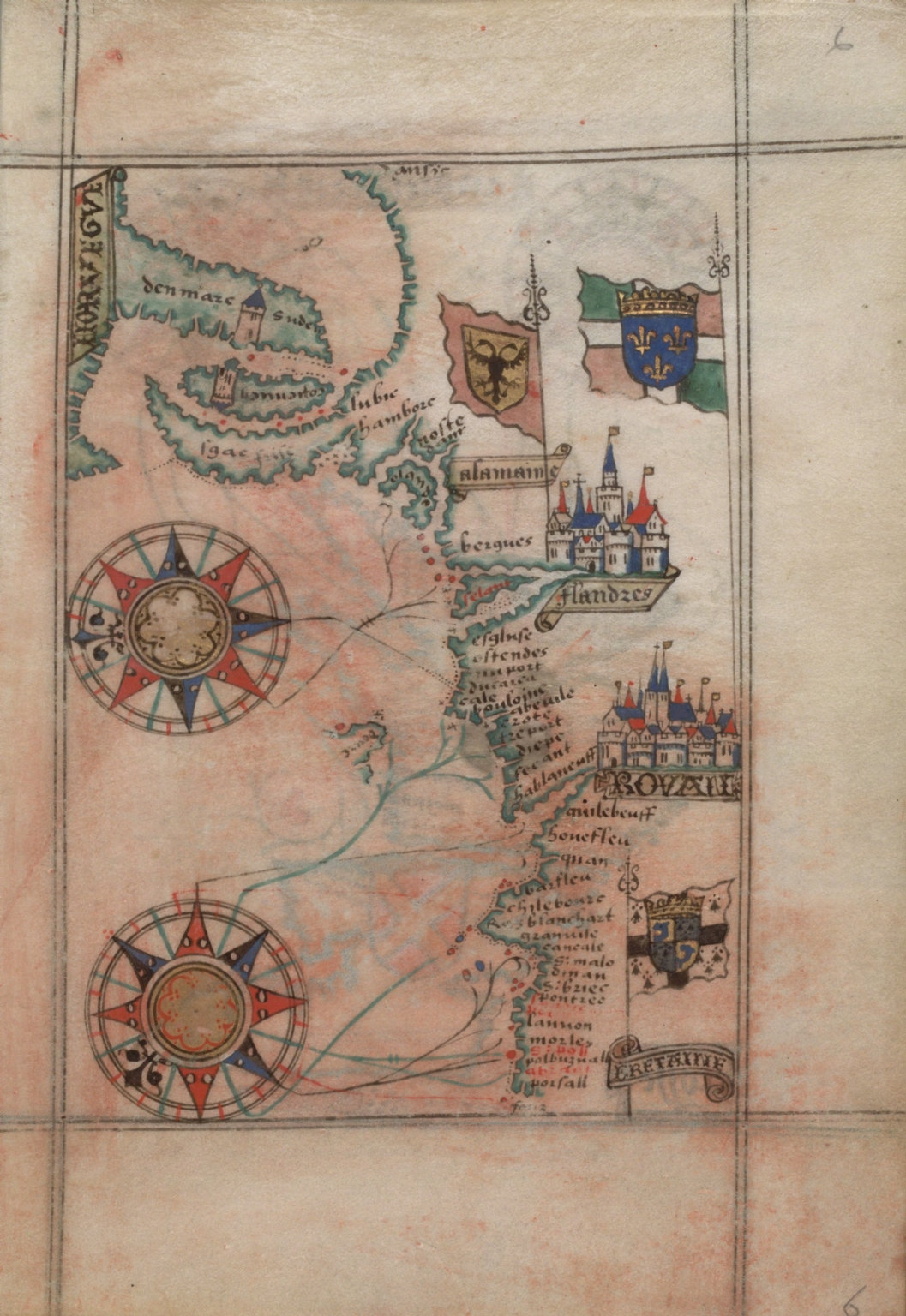 Chart of north coast of France, Flanders, Germany and Denmark