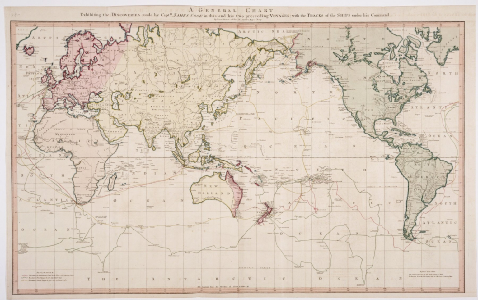 General Chart exhibiting the Discoveries made by Captain James Cook in this and his Two Proceeding Voyages, with the tracks of the Ships under his command, by Lieutenant Roberts of His Majesty's Royal Navy.