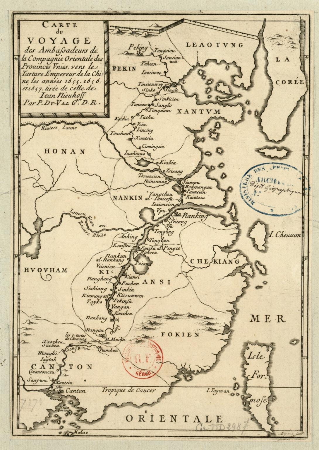 Carte du voyage des ambassadeurs de la Compagnie orientale des Provinces-Unies vers le Tartare, empereur de la Chine , les années 1655, 1656 et 1657, tirée de celle de Jean Nieuhoff