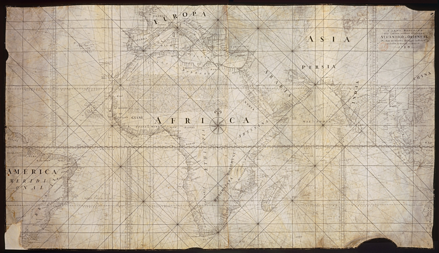 Carte reduzida que conten os dous oceannos, Atlantico e Oriental por José Fernandes Portugal na Bahia de todos o Santos no Anno de 1789