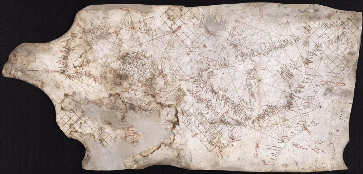 Carte marine de l'océan Atlantique Est, de la mer Méditerranée et d'une partie de la mer Noire, connue sous le nom de Carte Pisane