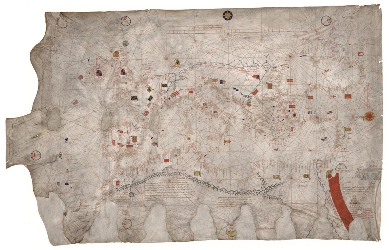 Carte marine de l'océan Atlantique Est, de la mer Méditerranée, de la mer Noire et de la mer Rouge / Guillmus Soleri civjs maioric[arum] me fecit