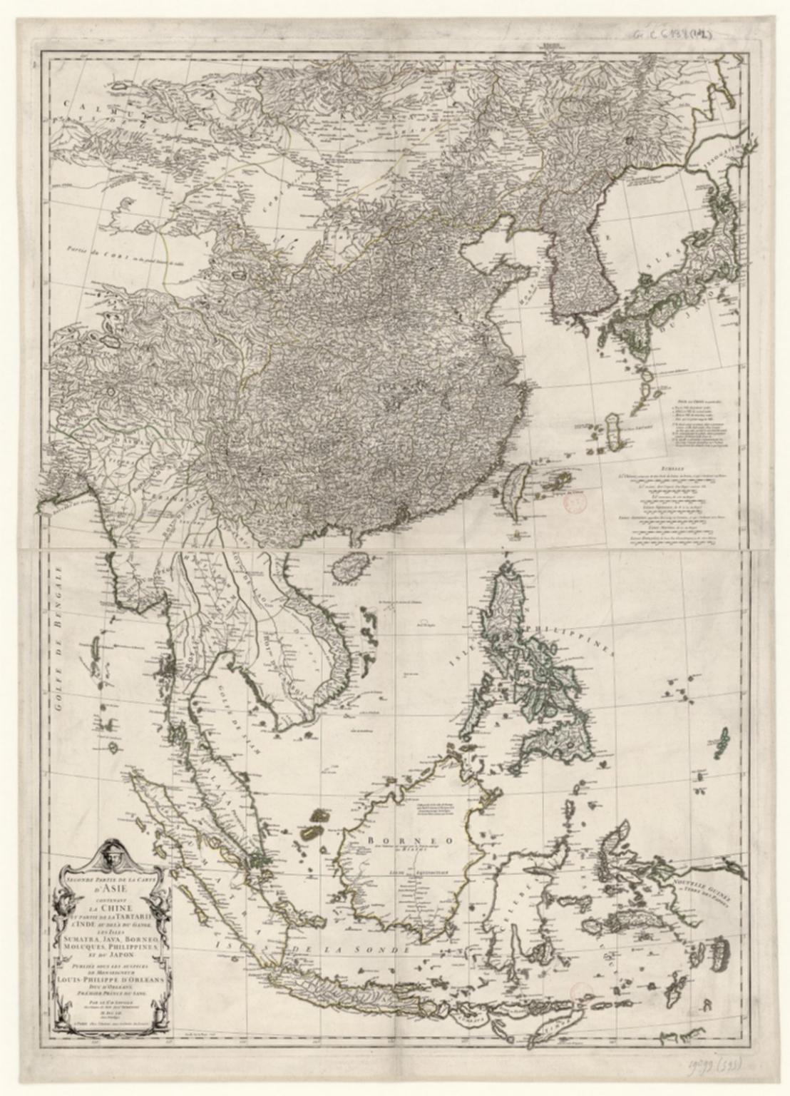 Seconde partie de la carte d'Asie : contenant la Chine, et partie de la Tartarie, l'Inde au delà du Gange, les Isles Sumatra, Java, Borneo, Moluques, Philippines et du Japon. Publiée sous les auspices de Monseigneur Louis-Philippe D'Orléans, Duc D'Orléans, prémier Prince du Sang