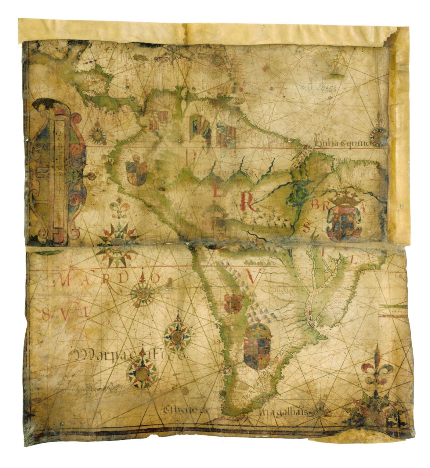 Fragment d'une carte nautique représentant les côtes de l'Amérique centrale et de l'Amérique du sud sur l'Océan Atlantique et sur l'Océan Pacifique