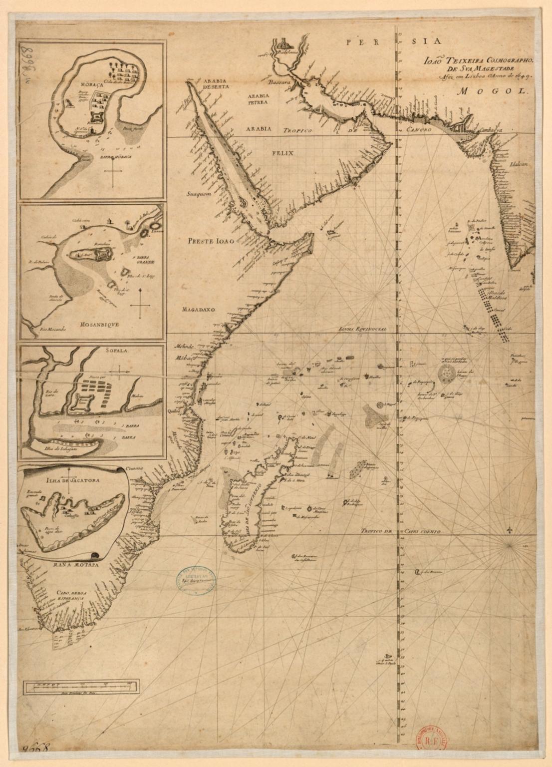 Carte portugaise de la mer des Indes entre le Cap de Bonne Espérance et le Cap Comorin