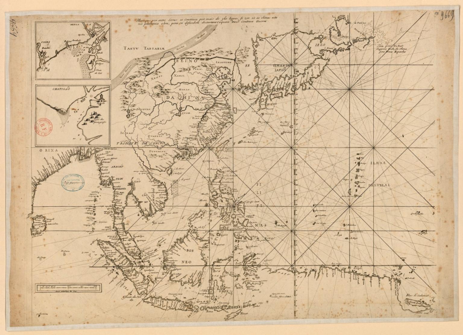 Carte portugaise de la mer qui comprend le Golfe du bengale, les côtes de la Chine et les îles du Japon, Philippines, de la Sonde et Moluques