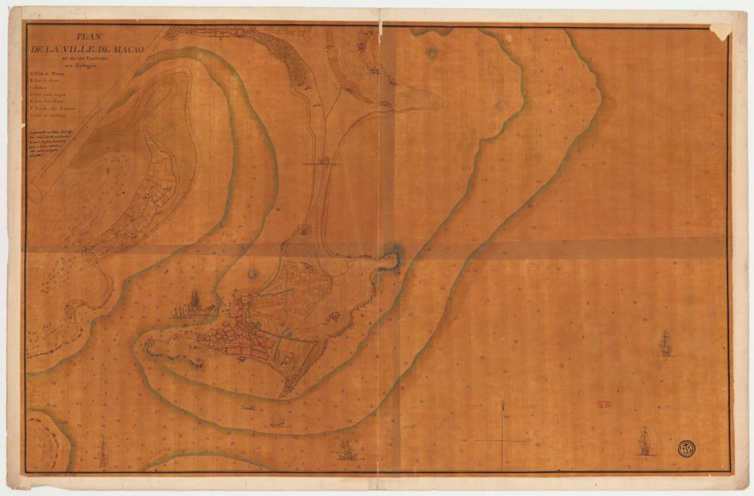 Plan de la ville de Macao et de ses environs aux Portugais