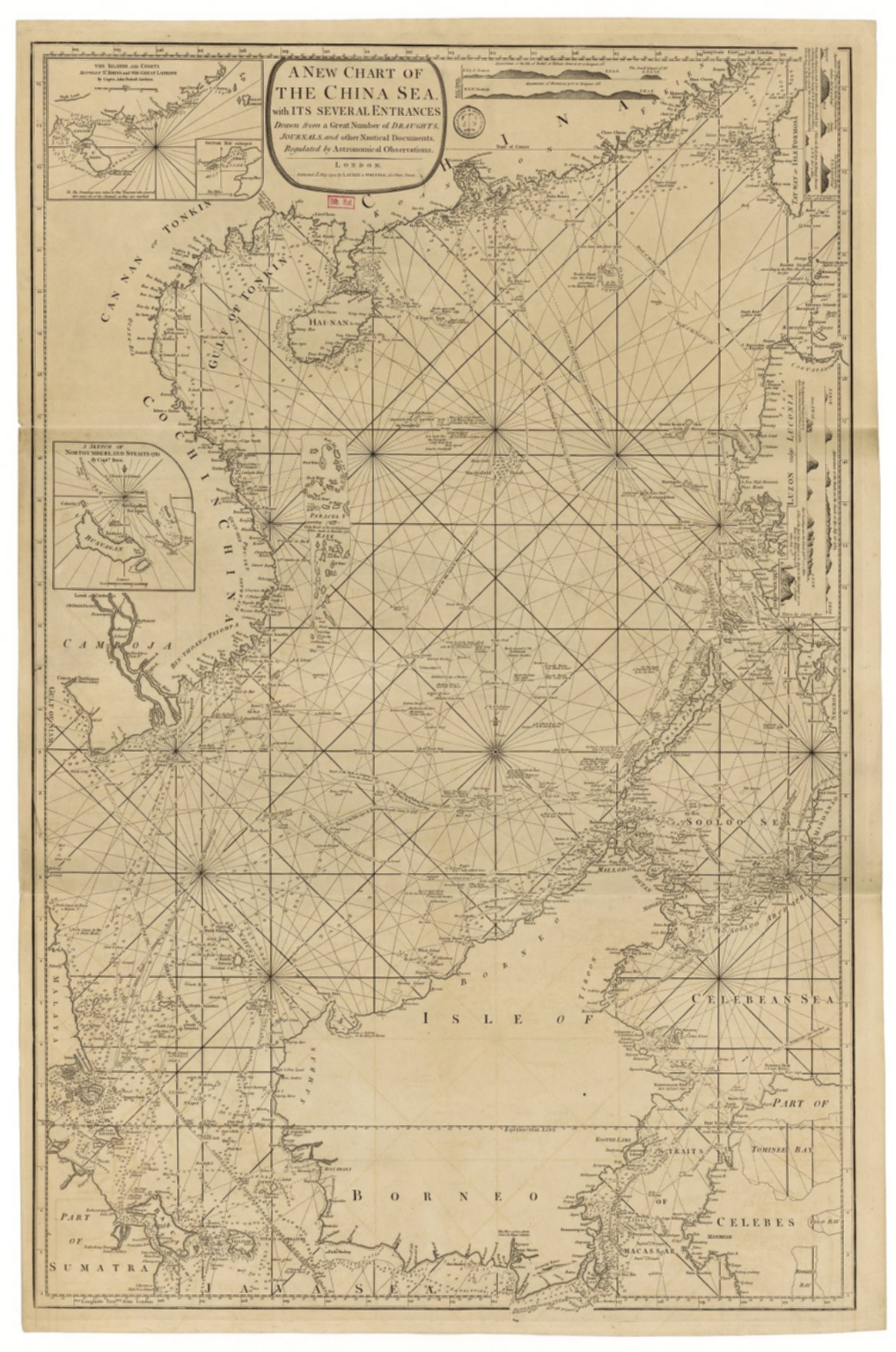 A new chart of the China Sea, with its several entrances : drawn from a great number of draughts, journals, and other National documents, regulated by astronomical observation