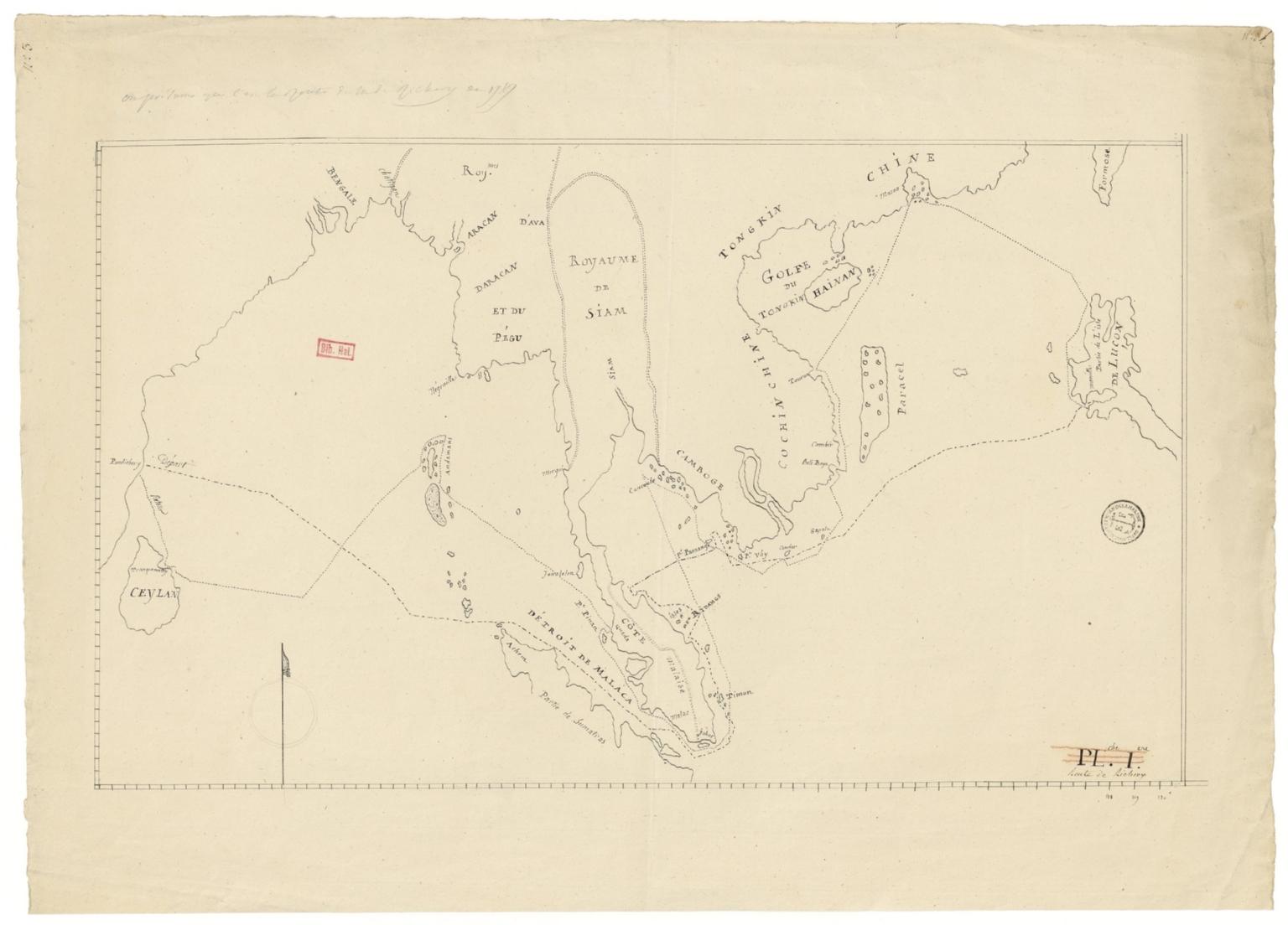Route de M. de Richery en 1787 de Pondichery a Canton