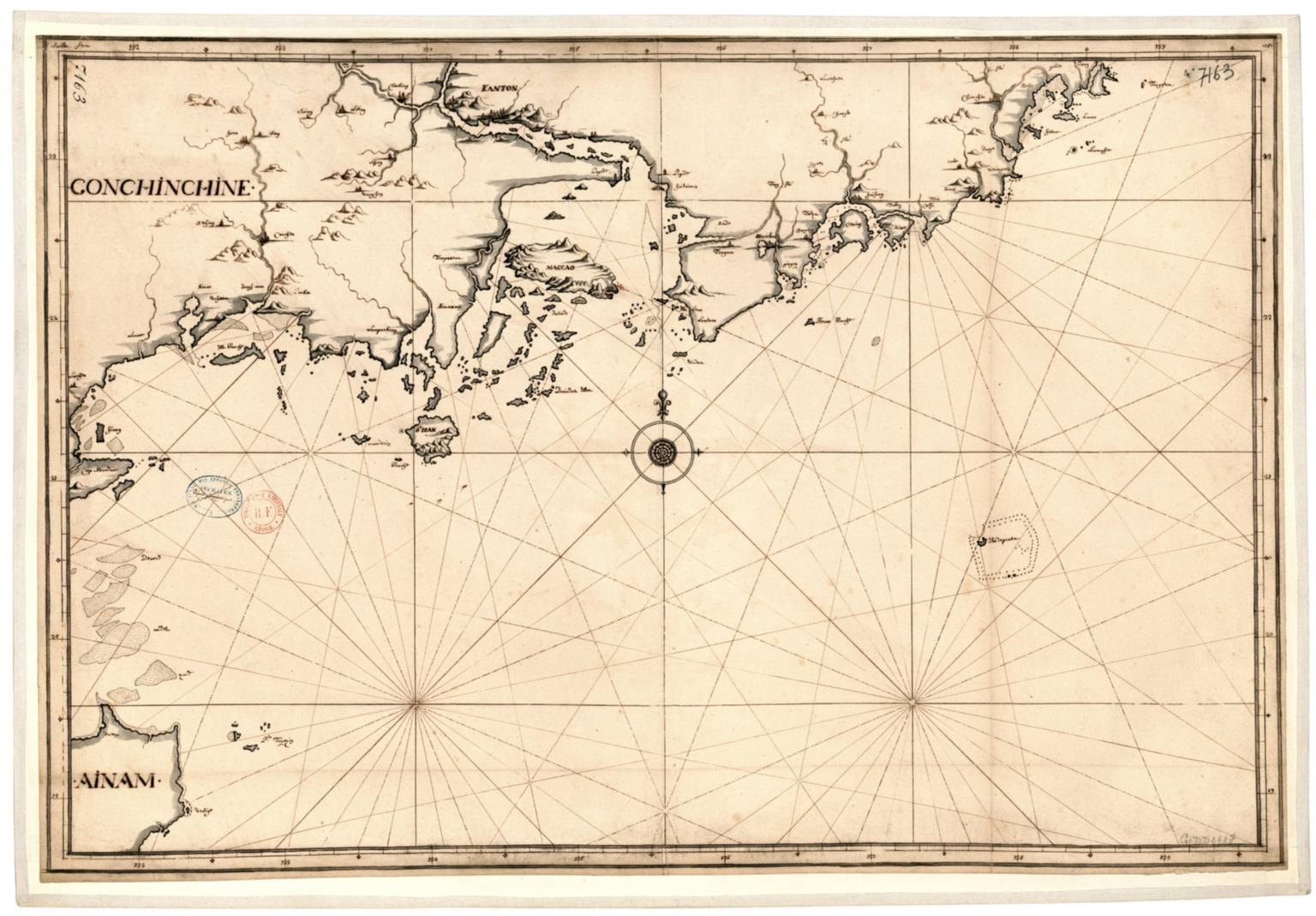 Carte manuscrite des côtes de la province de Kanton