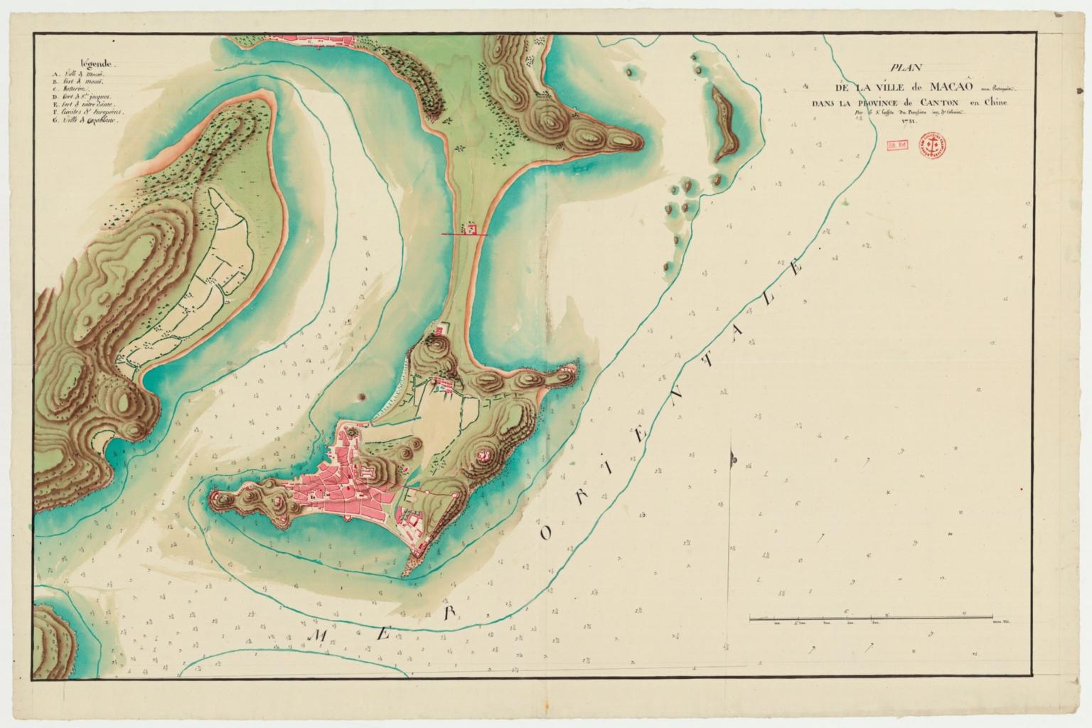Plan de la ville de Macaô aux Portugais dans la province de Canton en Chine