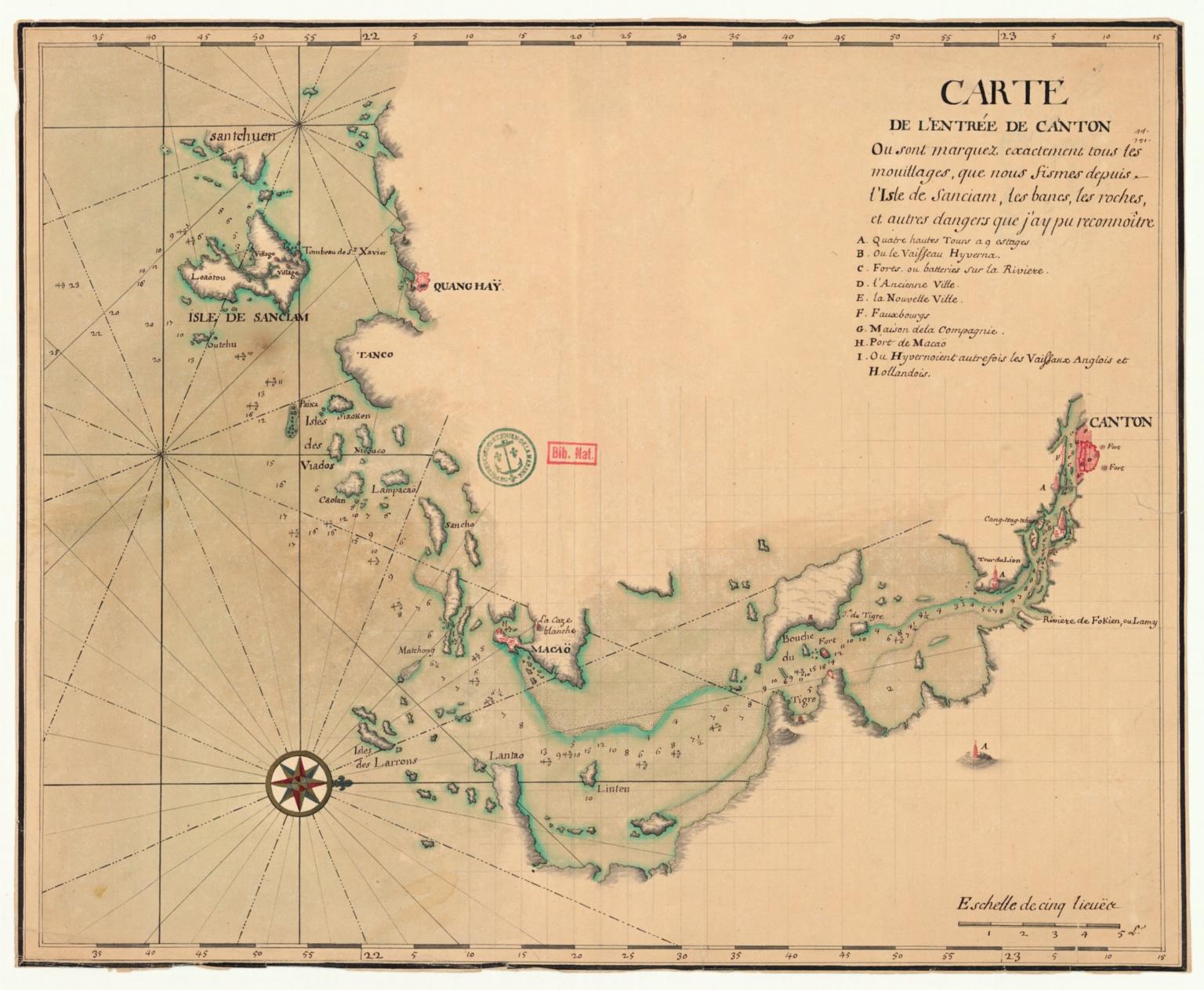 Carte de l'entrée de Canton où sont marquez exactement tous les mouillages, que nous fismes depuis l'isle de Sanciam, les bancs, les roches et autres dangers que j'ay pu reconnoître