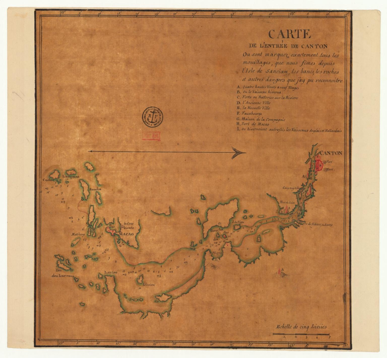 Carte de l'entrée de Canton où sont marquez exactement tous les mouillages, que nous fîmes depuis l'isle de Sanciam, les bancs, les roches et autres dangers que j'ay pu reconnoitre