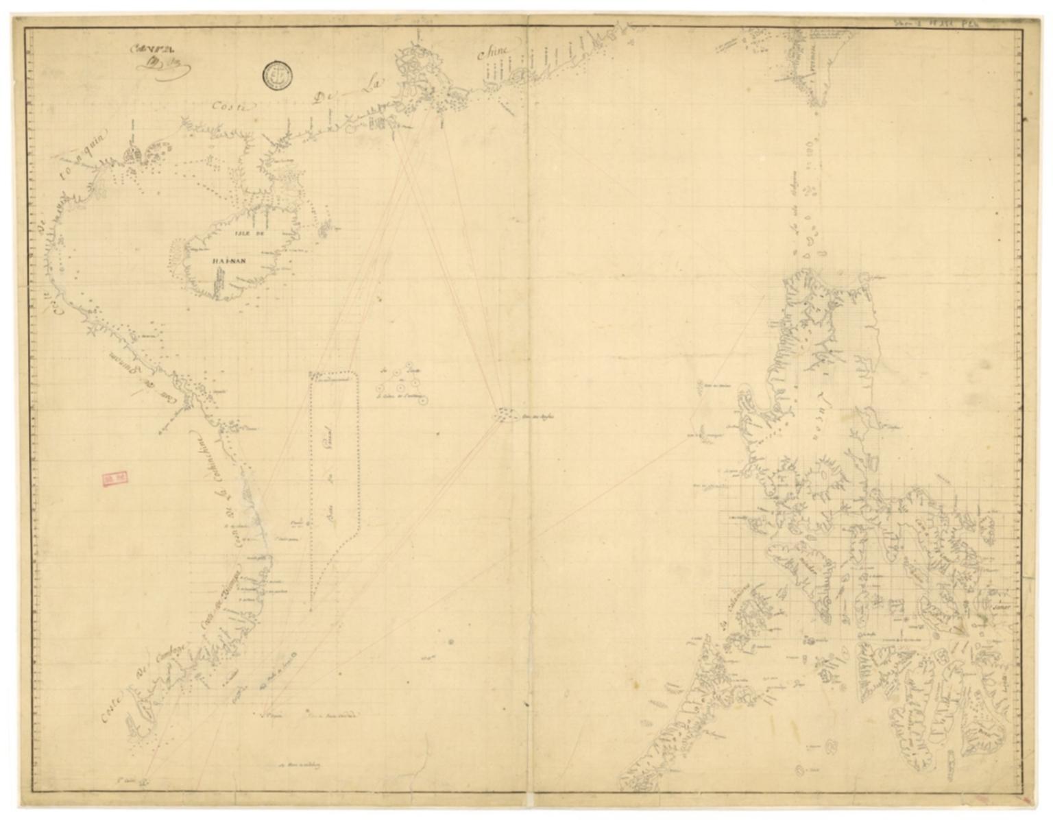 Carte des mers de Canton à Cambodge et aux Philippines